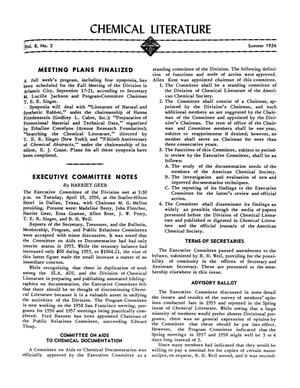Primary view of object titled 'Chemical Literature, Volume 8, Number 2, Summer 1956'.