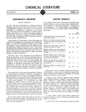 Primary view of object titled 'Chemical Literature, Volume 8, Number 1, Spring 1956'.