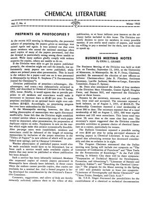 Chemical Literature, Volume 07, Number 04, Winter 1955