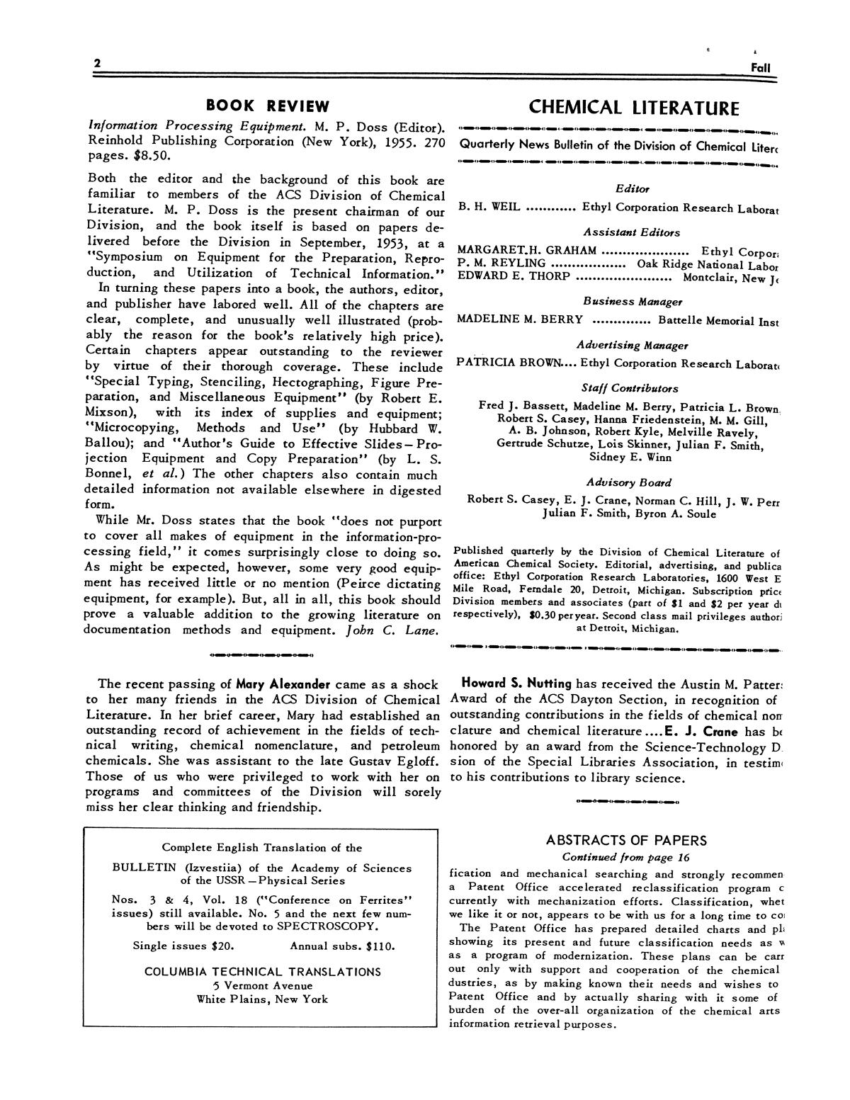 Chemical Literature, Volume 7, Number 3, Fall 1955                                                                                                      2