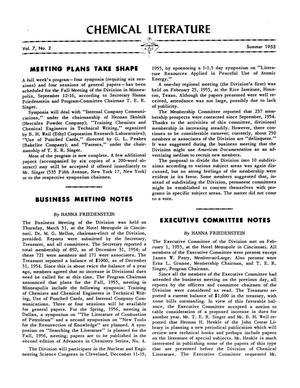 Chemical Literature, Volume 07, Number 02, Summer 1955