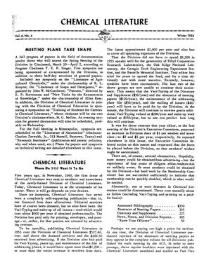 Primary view of object titled 'Chemical Literature, Volume 6, Number 4, Winter 1954'.