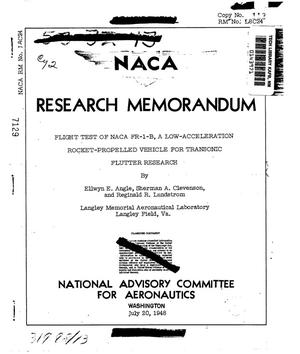 Primary view of object titled 'Flight test of NACA FR-1-B, a low-acceleration rocket-propelled vehicle for transonic flutter research'.