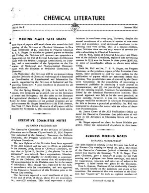 Primary view of object titled 'Chemical Literature, Volume 6, Number 2, Summer 1954'.