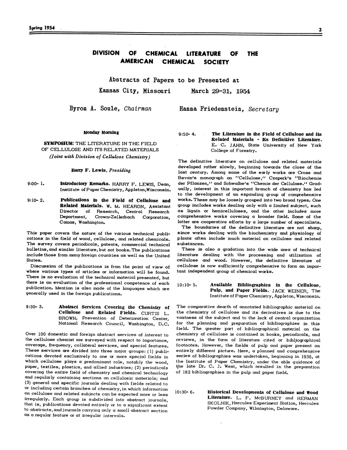 Chemical Literature, Volume 6, Number 1, Spring 1954                                                                                                      3