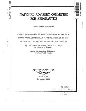 Primary view of object titled 'Flight calibration of four airspeed systems on a swept-wing airplane at Mach numbers up to 1.04 by the NACA radar-phototheodolite method'.