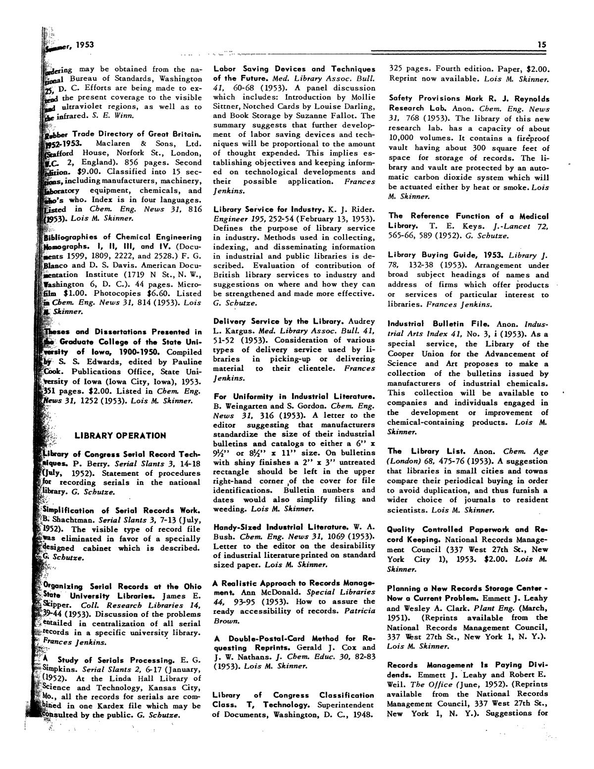 Chemical Literature, Volume 5, Number 2, Summer 1953 - Page
