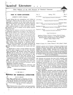 Chemical Literature, Volume 5, Number 1, Spring 1953