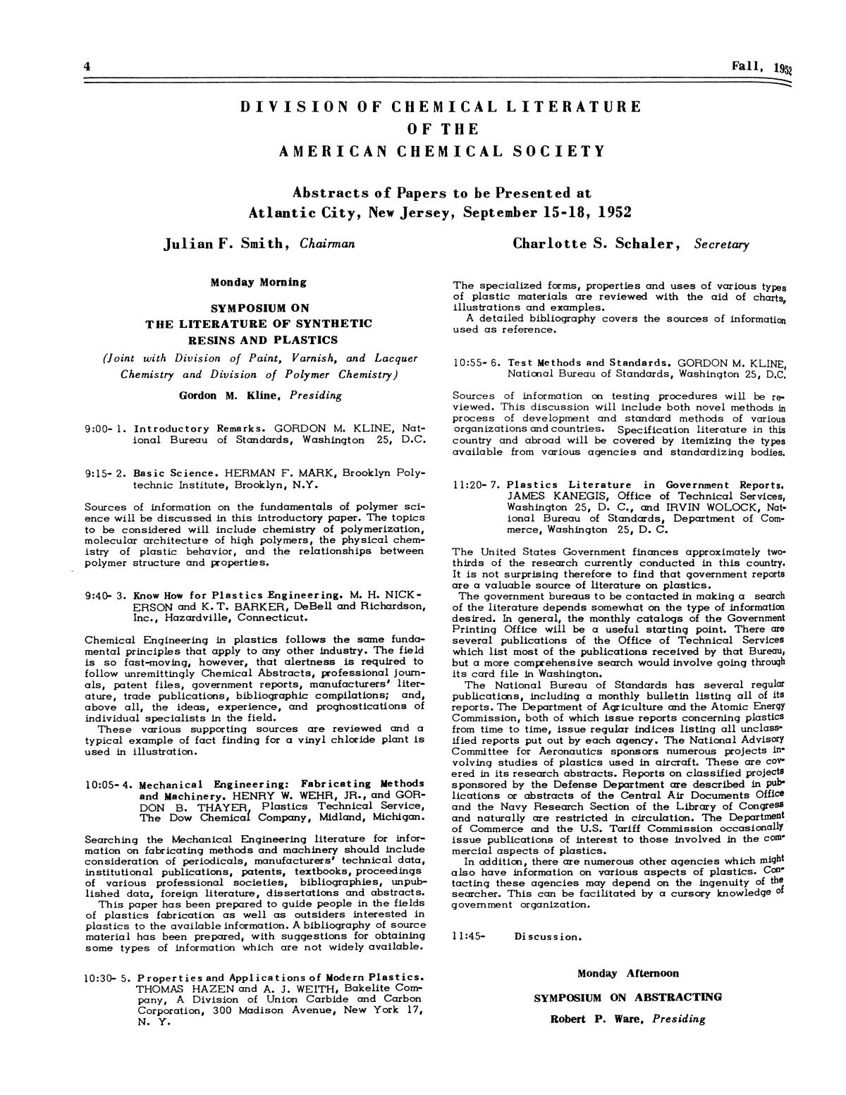 Chemical Literature, Volume 4, Number 3, Fall 1952                                                                                                      4