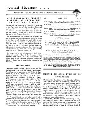 Primary view of object titled 'Chemical Literature, Volume 4, Number 2, Summer 1952'.