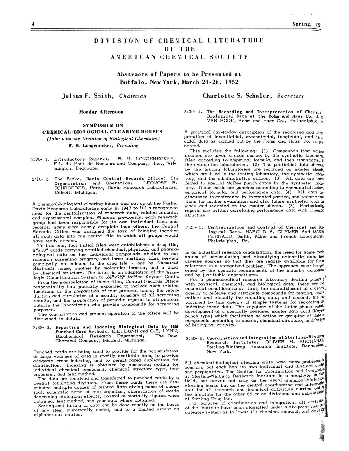 Chemical Literature, Volume 4, Number 1, Spring 1952                                                                                                      4