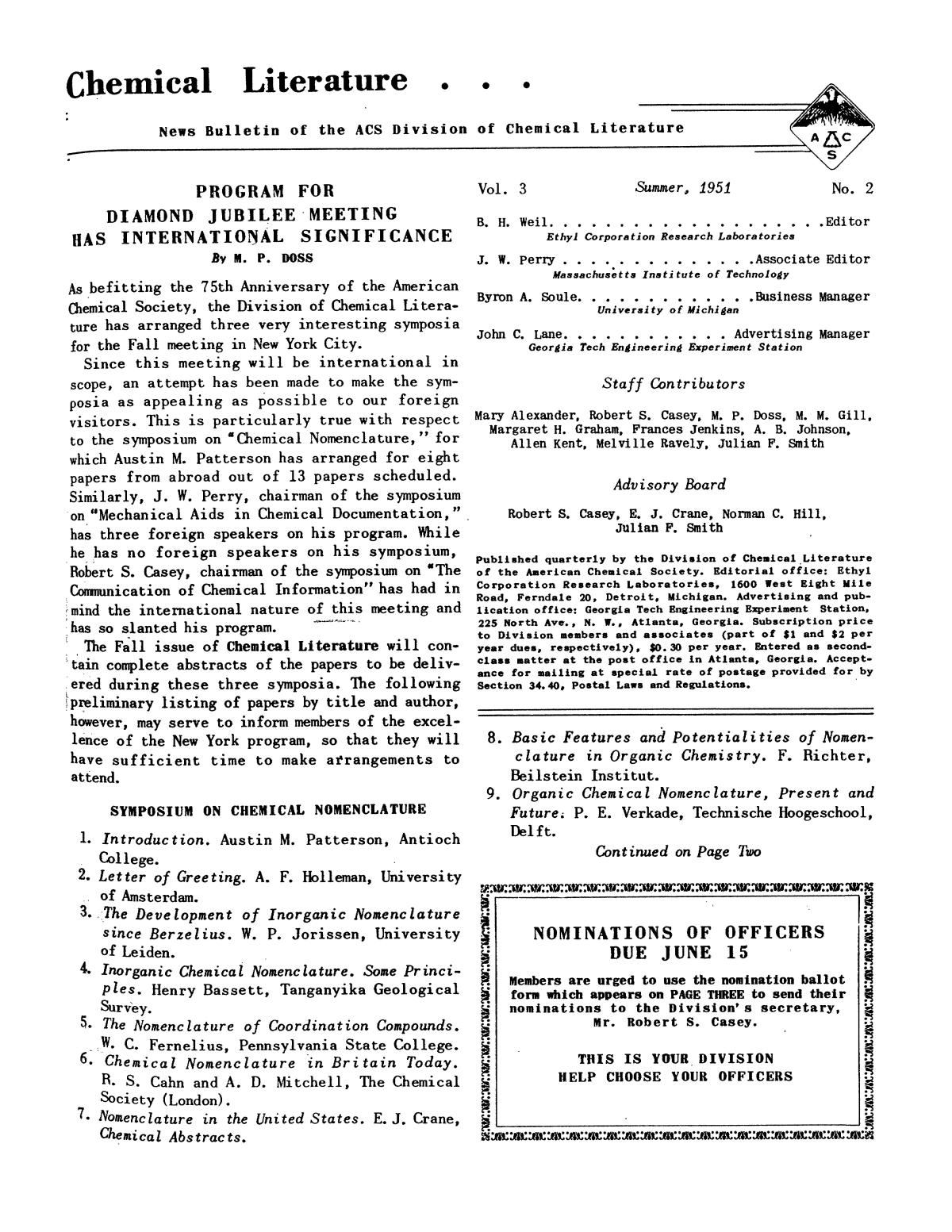 Chemical Literature, Volume 3, Number 2, Summer 1951                                                                                                      1