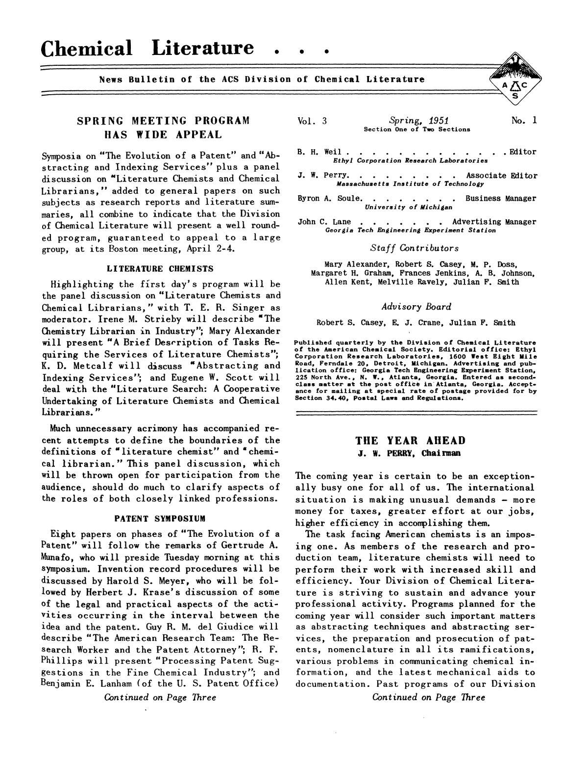 Chemical Literature, Volume 3, Number 1, Spring 1951                                                                                                      1