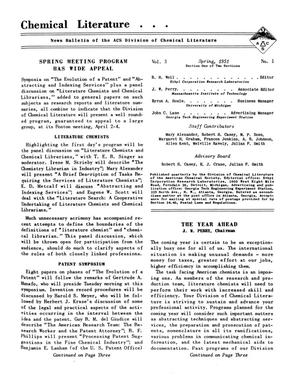 Primary view of object titled 'Chemical Literature, Volume 3, Number 1, Spring 1951'.