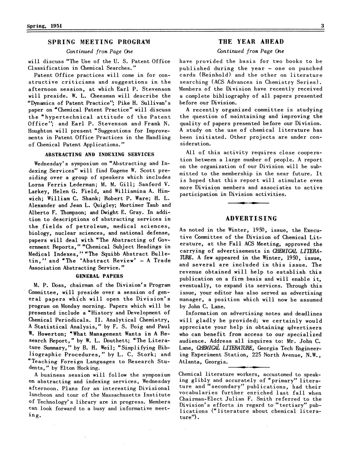 Chemical Literature, Volume 3, Number 1, Spring 1951                                                                                                      3