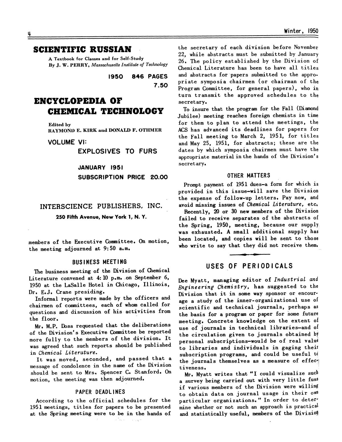 Chemical Literature, Volume 2, Number 4, Winter 1950                                                                                                      4