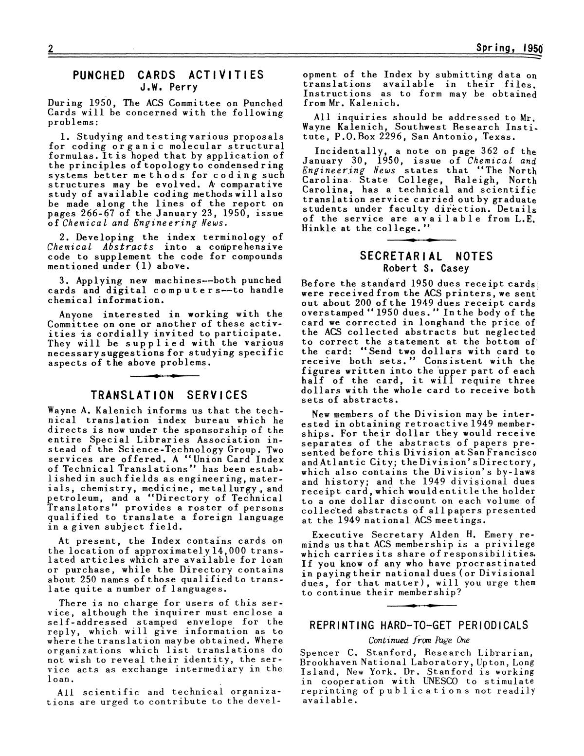 Chemical Literature, Volume 2, Number 1, Spring 1950                                                                                                      2