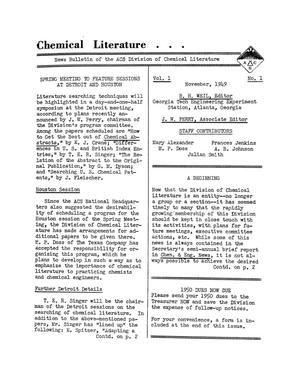 Primary view of object titled 'Chemical Literature, Volume 01, Number 1, November 1949'.