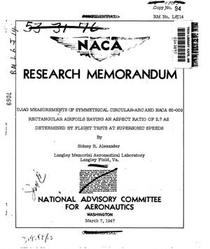 Primary view of object titled 'Drag Measurements of Symmetrical Circular-Arc and NACA 65-009 Rectangular Airfoils Having an Aspect Ratio of 2.7 as Determined by Flight Tests at Supersonic Speeds'.