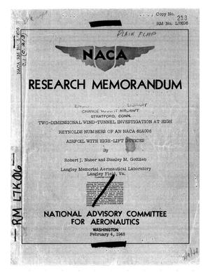 Primary view of object titled 'Two-dimensional wind-tunnel investigation at high Reynolds numbers of an NACA 65A006 airfoil with high-lift devices'.