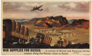 Primary view of object titled 'War supplies for Russia-- : a convoy of British and American lorries streams along the Persian route to Russia.'.