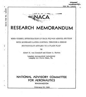 Primary view of object titled 'Wind-Tunnel investigation of NACA 65,3-418 airfoil section with boundary-layer control through a single suction slot applied to a plain flap'.