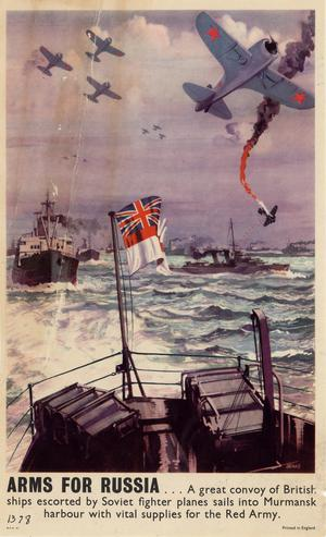 Primary view of object titled 'Arms for Russia-- a great convoy of British ships escorted by Soviet fighter planes sails into Murmansk Harbour with vital supplies for the Red Army.'.