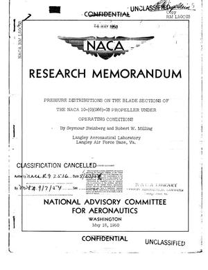 Primary view of object titled 'Pressure distributions on the blade sections of the NACA 10-(0)(066)-03 propeller under operating conditions'.