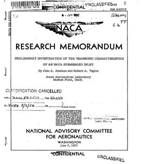 Primary view of object titled 'Preliminary investigation of the transonic characteristics of an NACA submerged inlet'.