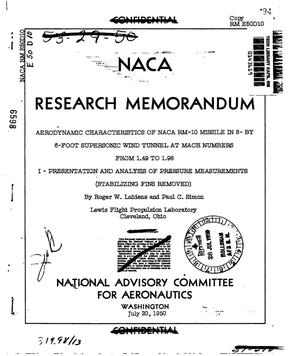 Primary view of object titled 'Aerodynamic characteristics of NACA RM-10 missile in 8- by 6-foot supersonic wind tunnel at Mach numbers from 1.49 to 1.98 1: presentation and analysis of pressure measurements (stabilizing fins removed)'.