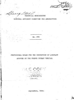 Primary view of object titled 'Provisional rules for the inspection of aircraft adopted by the French Bureau Veritas'.