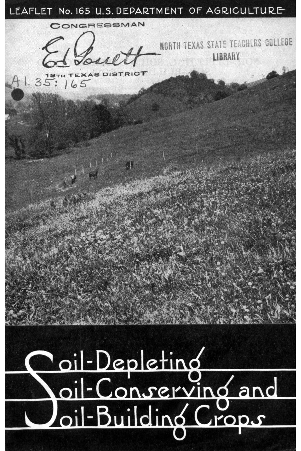 Soil depleting soil conserving and soil building crops for Soil library
