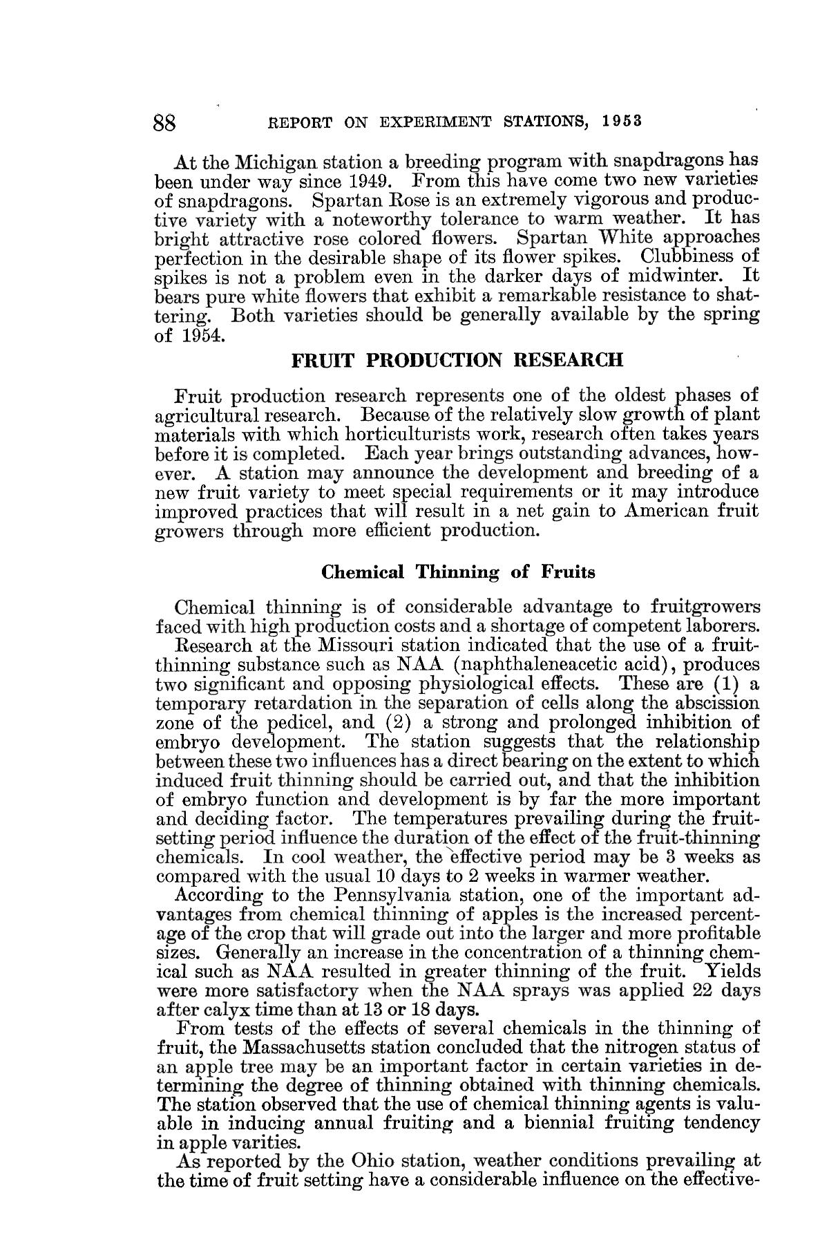 Report on the Agricultural Experiment Stations, 1953                                                                                                      88