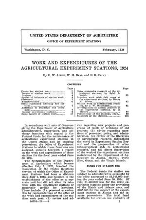 Work and Expenditures of the Agricultural Experiment Stations, 1924