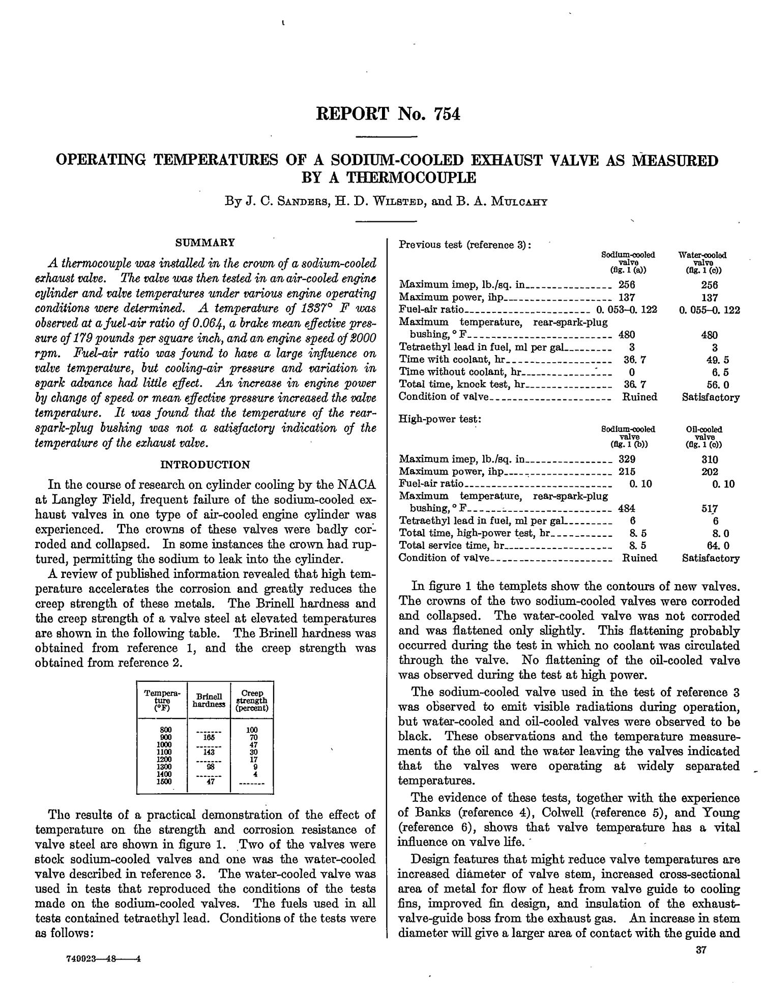 Operating temperatures of a sodium-cooled exhaust valve as measured by a thermocouple                                                                                                      [Sequence #]: 1 of 11