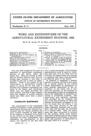 Work and Expenditures of the Agricultural Experiment Stations, 1923