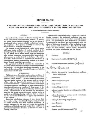 Primary view of object titled 'A theoretical investigation of the lateral oscillations of an airplane with free rudder with special reference to the effect of friction'.