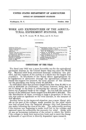 Work and Expenditures of the Agricultural Experiment Stations, 1922