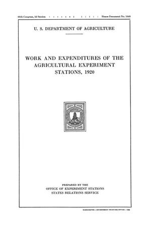 Primary view of object titled 'Work and Expenditures of the Agricultural Experiment Stations, 1920'.
