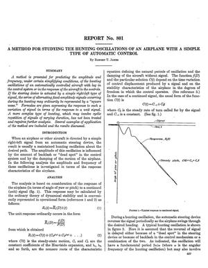 Primary view of object titled 'A method for studying the hunting oscillations of an airplane with a simple type of automatic control'.