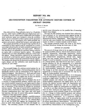 Primary view of object titled 'Air-consumption parameters for automatic mixture control of aircraft engines'.