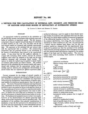 Primary view of A method for the calculation of external lift, moment, and pressure drag of slender open-nose bodies of revolution at supersonic speeds