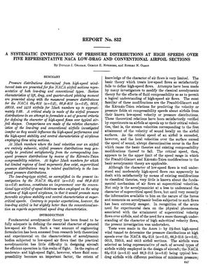 Primary view of object titled 'A systematic investigation of pressure distributions at high speeds over five representative NACA low-drag and conventional airfoil sections'.