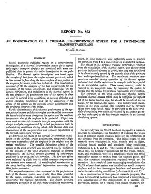 Primary view of object titled 'An investigation of a thermal ice-prevention system for a twin-engine transport airplane'.