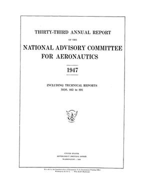 Primary view of object titled 'Annual report of the National Advisory Committee for Aeronautics (33rd).administrative report including Technical Report nos. 863 to 891'.