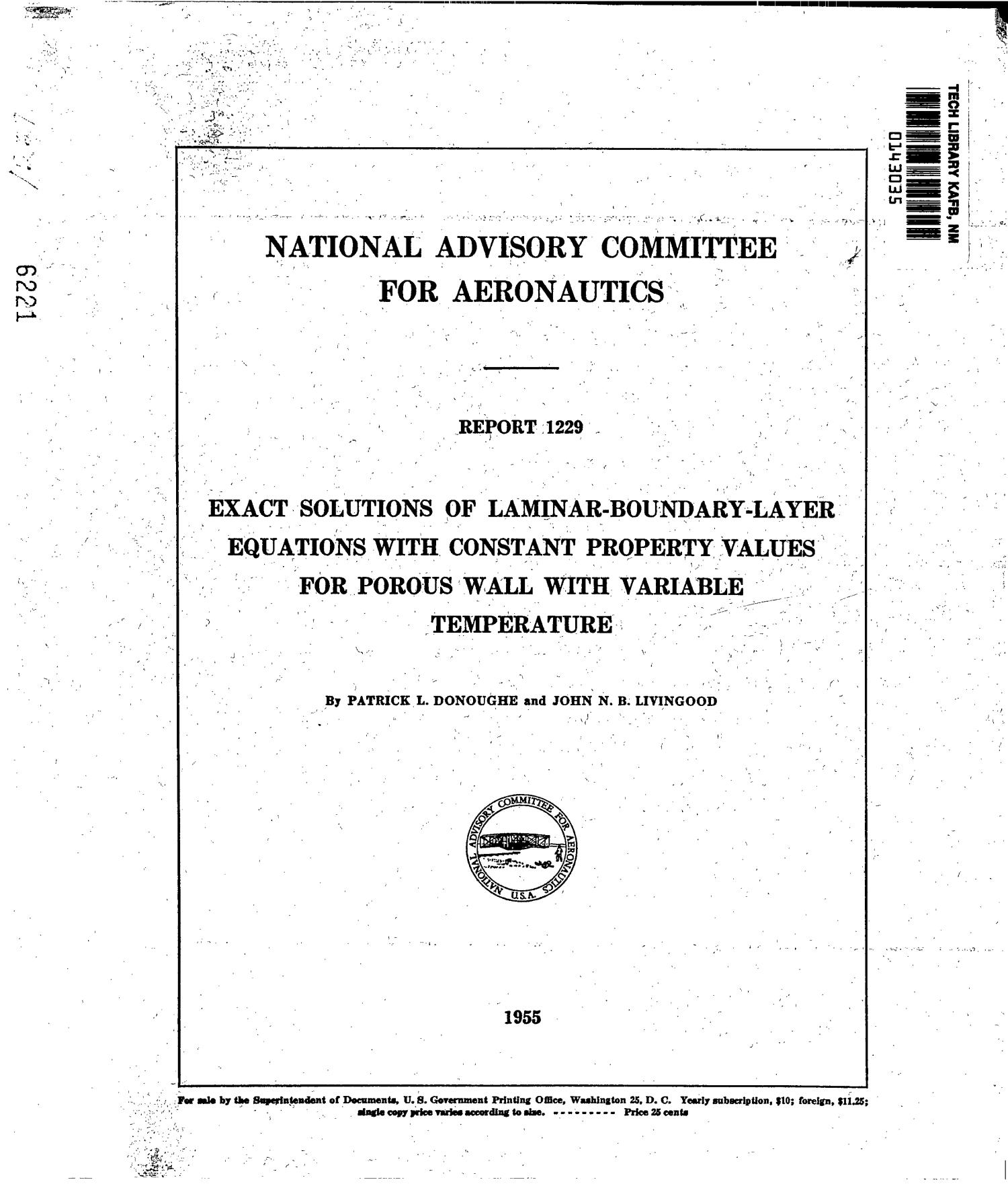 Exact solutions of laminar-boundary-layer equations with constant property values for porous wall with variable temperature                                                                                                      [Sequence #]: 1 of 24