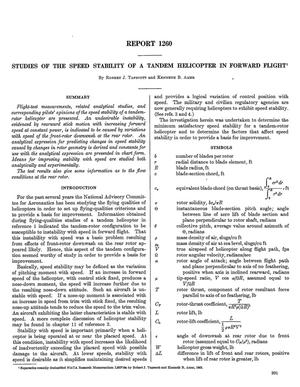 Primary view of Studies of the speed stability of a tandem helicopter in forward flight