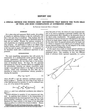 Primary view of object titled 'A special method for finding body distortions that reduce the wave drag of wing and body combinations at supersonic speeds'.
