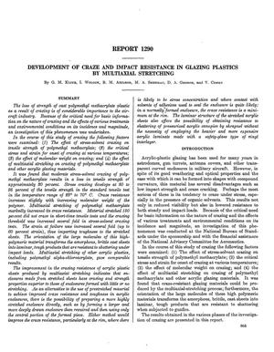 Primary view of object titled 'Development of craze and impact resistance in glazing plastics by multiaxial stretching'.