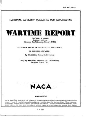 Primary view of object titled 'An interim report on the stability and control of tailless airplanes'.